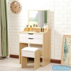 Bộ bàn phấn trang điểm 2 ngăn kéo, gương và ghế bọc nệm