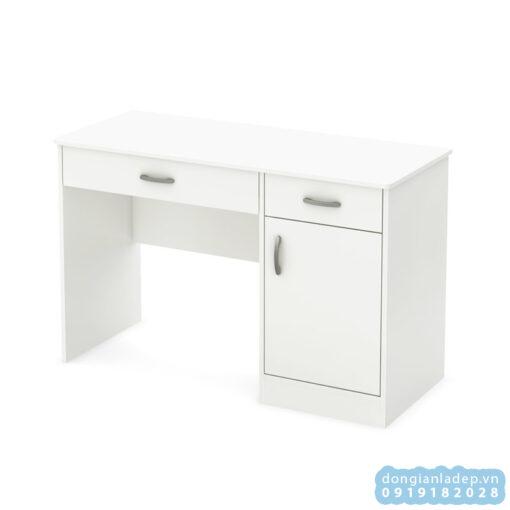 Bàn làm việc màu trắng với 2 hộc kéo và 1 hộc tủ