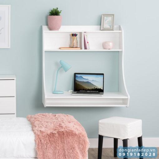 Bàn làm việc treo tường màu trắng tinh tế trong phòng ngủ