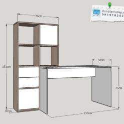 Kích thước bàn làm việc và tủ sách BLV33