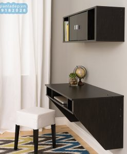 Bộ bàn làm việc và kệ gỗ gắn tường BT51 màu nâu cafe