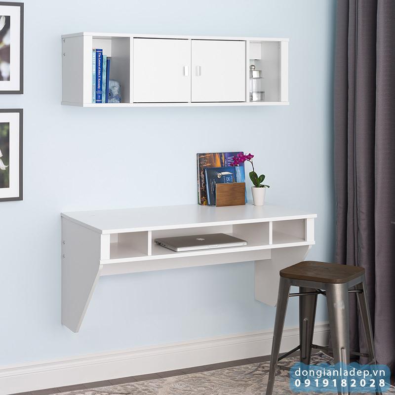 Bộ bàn làm việc và kệ sách treo tường đẹp hiện đại cho phòng làm việc