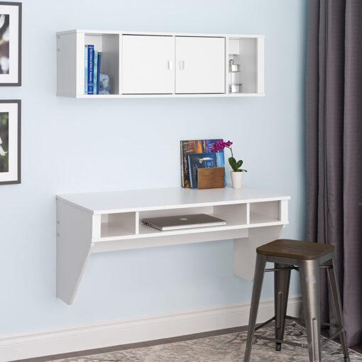 Bộ bàn làm việc và kệ gỗ gắn tường BT51 màu trắng