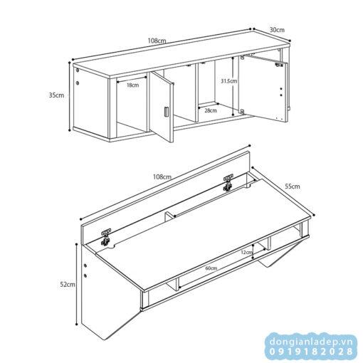Kích thước chi tiết của bàn gắn tường và kệ sách treo tường BT51