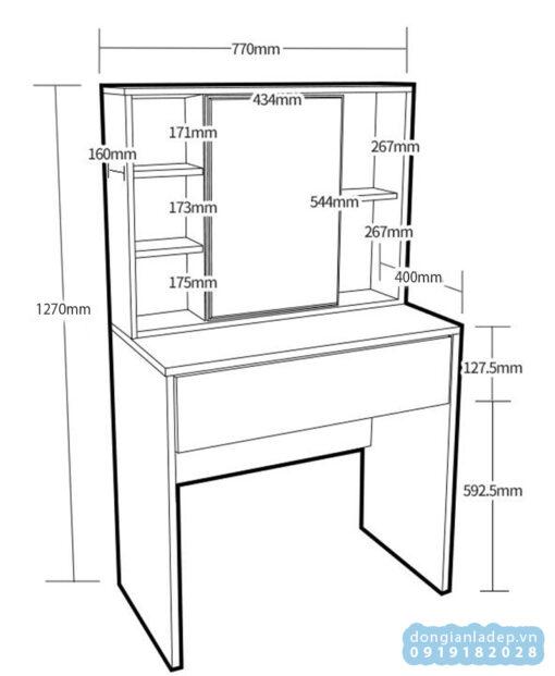 Kích thước của bàn trang điểm đơn giản BTD06
