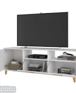 Tủ tivi thiết kế với 5 ngăn (3 ngăn đóng, 2 ngăn kệ hở)