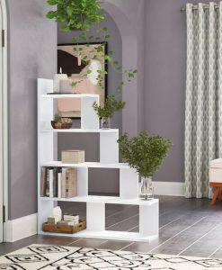 Kệ sách đơn giản 5 tầng bậc thang màu trắng