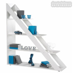 Kệ sách bậc thang 5 tầng màu trắng đẹp tinh tế