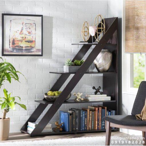 Giá để sách hình bậc thang màu cafe