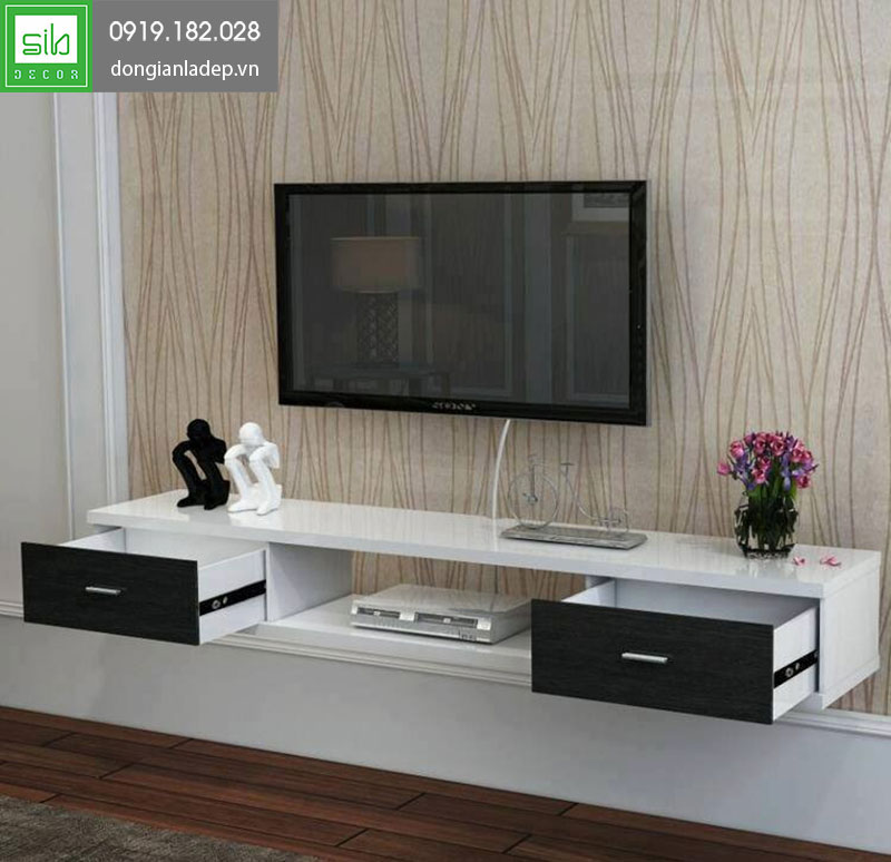 Kệ tivi treo tường TV141 màu trắng đen sơn bóng 2K hiện đại