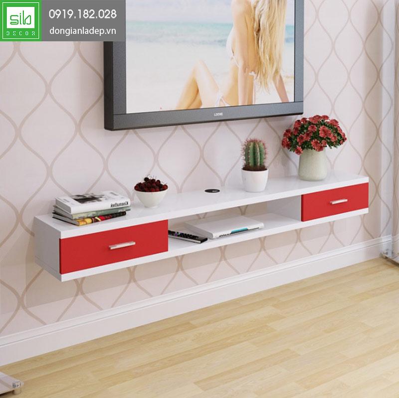 Kệ tivi treo tường TV121 màu trắng đỏ luôn được nhiều chị em lựa chọn bởi sự nhẹ nhàng và sang trọng.