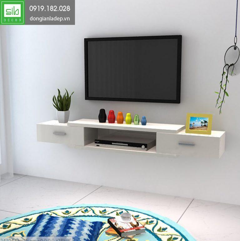 Kệ tivi treo tường TV133 màu trắng đơn giản, nhẹ nhàng