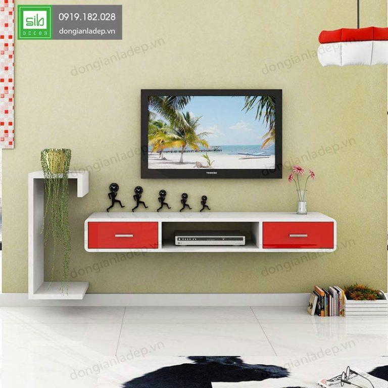 Kệ tivi treo tường TV137 với style Trắng - đỏ sang trọng