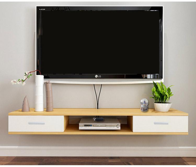 Kệ tivi treo tường 2 ngăn kéo màu trắng kết hợp vân gỗ sồi