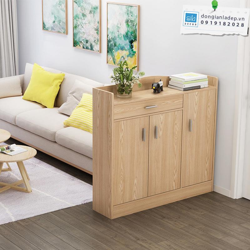 Tủ giày TG05 màu vân gỗ sồi cho phòng khách