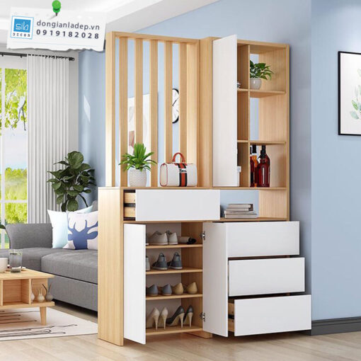 Kệ gỗ năng phòng gồm 4 ngăn kéo, 1 tủ để giày 4 tầng, 1 khối kệ để sách và đồ trang trí, 1 vách ngăn.