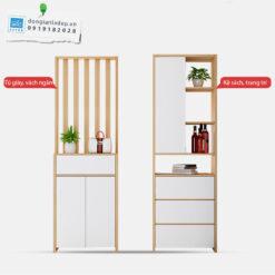 Bộ kệ gỗ gồm 2 khối rời có thể dễ dàng di chuyển, phù hợp với nhiều không gian