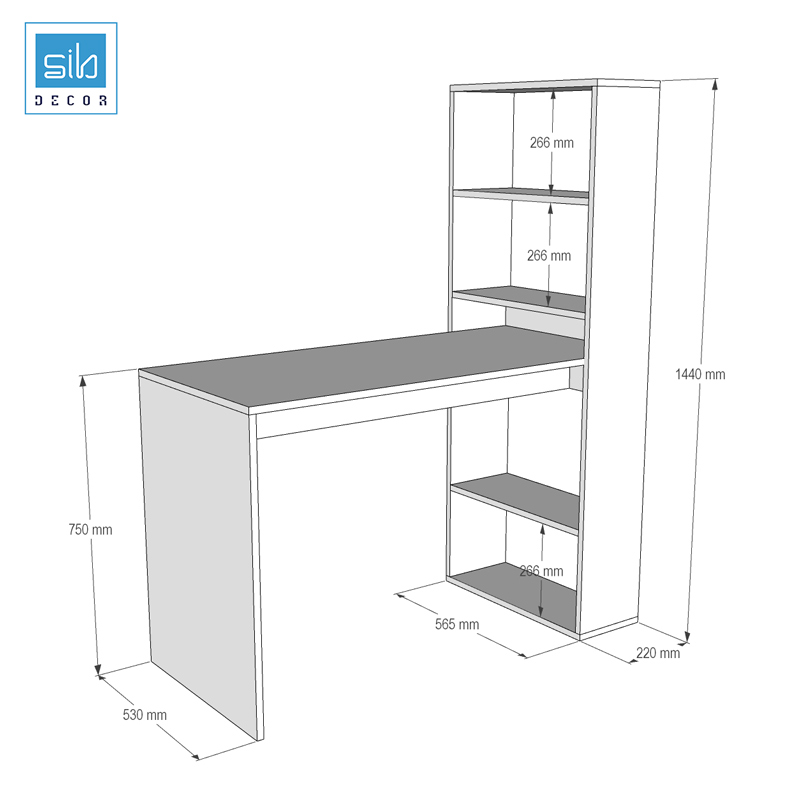 Bản vẽ thiết kế bàn làm việc kết hợp kệ sách BLV22