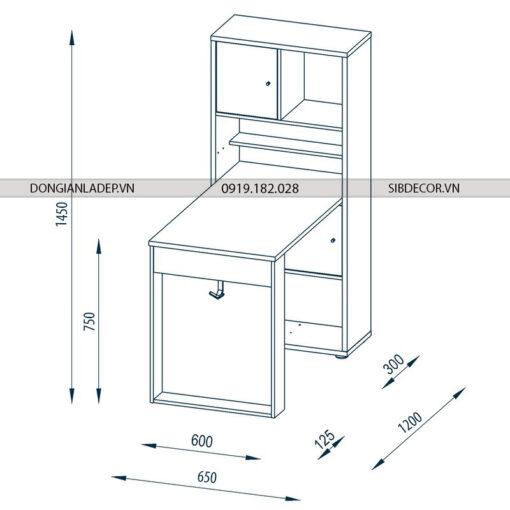 Kích thước của bộ bàn làm việc và kệ sách BLV30