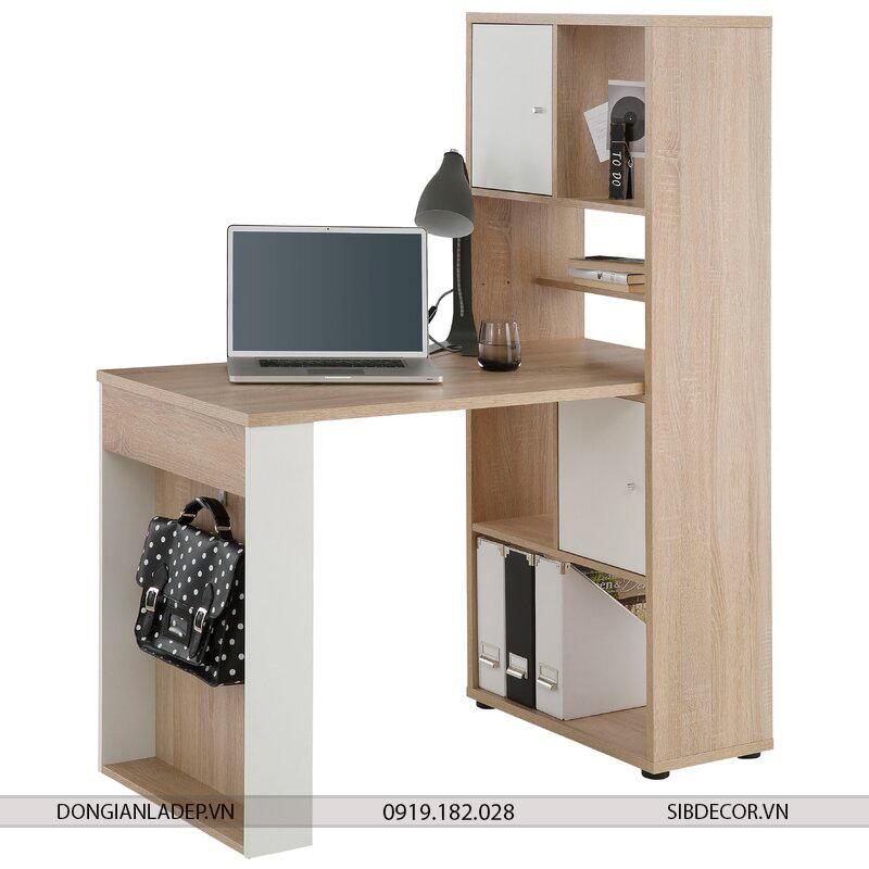 Bộ bàn làm việc và kệ sách màu trắng và vân sồi BLV30