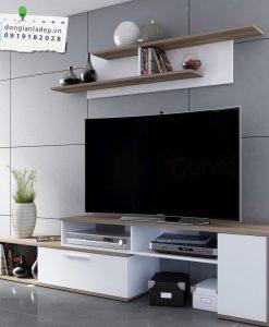 Bộ combo kệ tivi phòng khách màu trắng và vân gỗ sồi