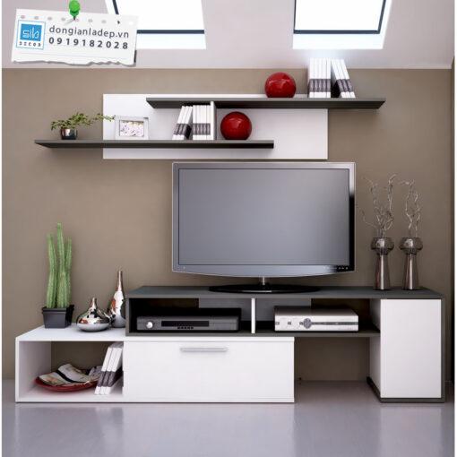 Bộ combo kệ tivi phòng khách màu trắng đen kết hợp