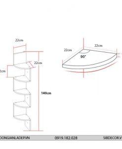 Kích thước kệ gỗ góc treo tường cung tròn KT412