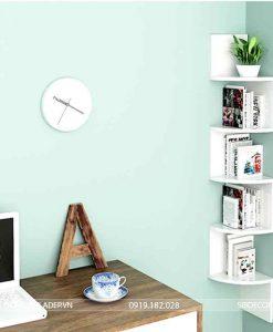Kệ sách treo góc tường bàn làm việc màu trắng