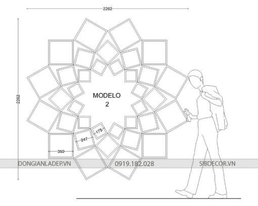 Modelo 1 - Bộ kệ kích thước lớn phù hợp với căn phòng diện tích lớn