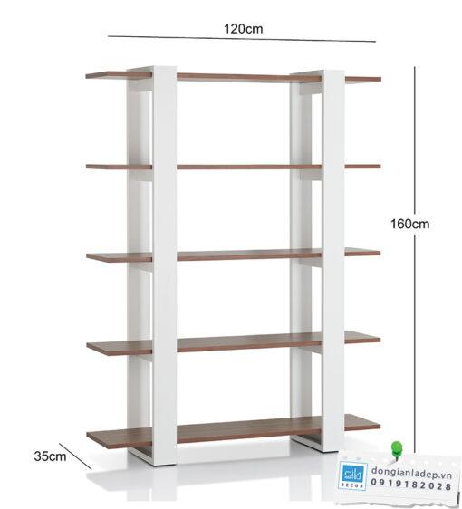 Kích thước chi tiết kệ sách KS258 (chiều cao lọt lòng các tầng là 35cm)