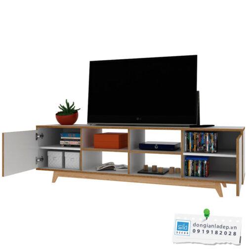Kệ tivi thiết kế đơn giản với 2 cánh tủ cách điệu