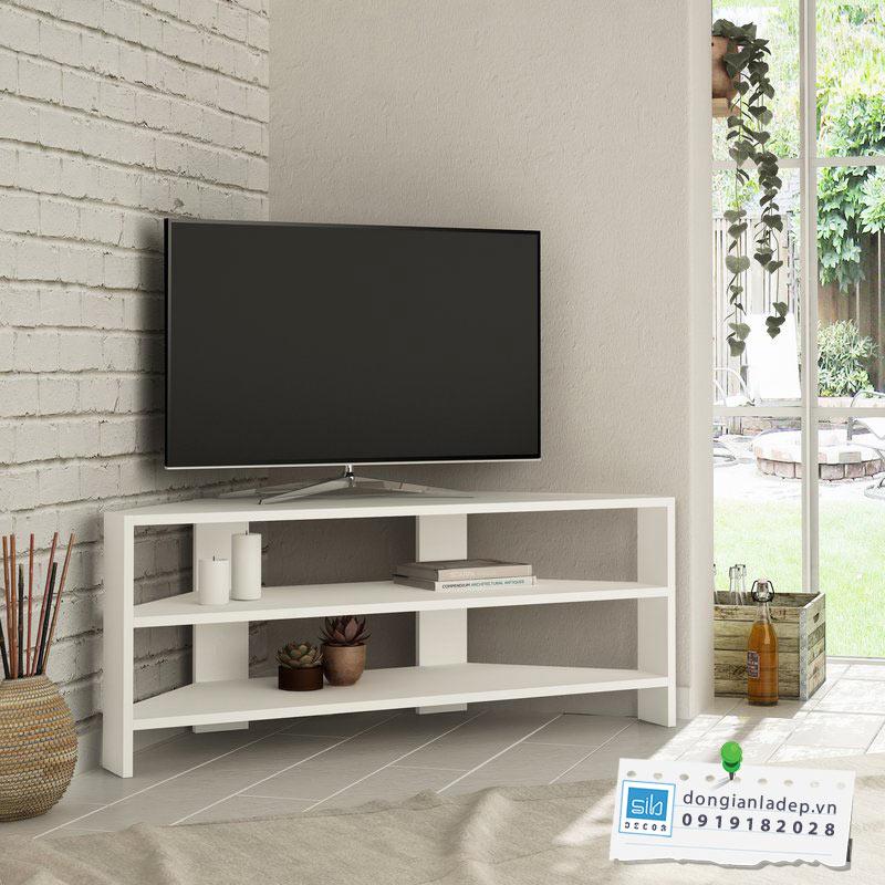 Kệ tivi để góc phòng khách màu trắng
