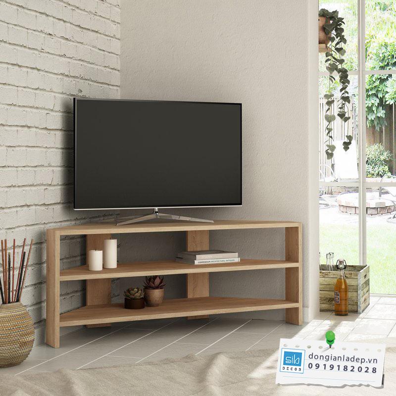 Kệ tivi để góc phòng khách màu vân gỗ sồi