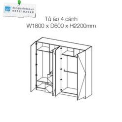 Kích thước của tủ áo 4 cánh an cường: 240x220x60cm