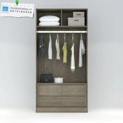 Bên trong tủ áo gồm 4 ngăn kéo, 1 giá treo và 2 ngăn kệ phía trên