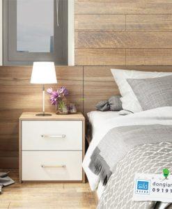 Tủ đầu giường 2 ngăn kéo tay nắm nhôm