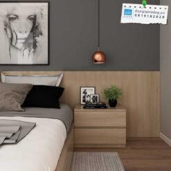 Tủ đầu giường 2 ngăn kéo màu gỗ sồi tay nắm âm