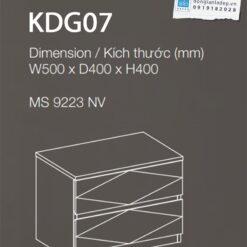 Kích thước chi tiết tủ đầu giường KDG07