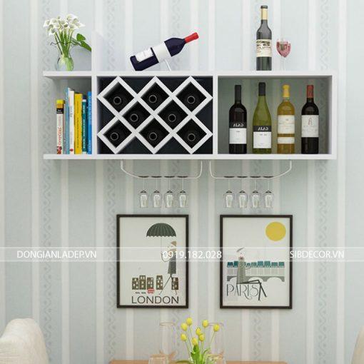 Kệ rượu KR10 treo tường màu trắng