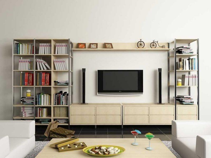 Kệ tivi có thể trang trí và để sách vô cùng tiện lợi