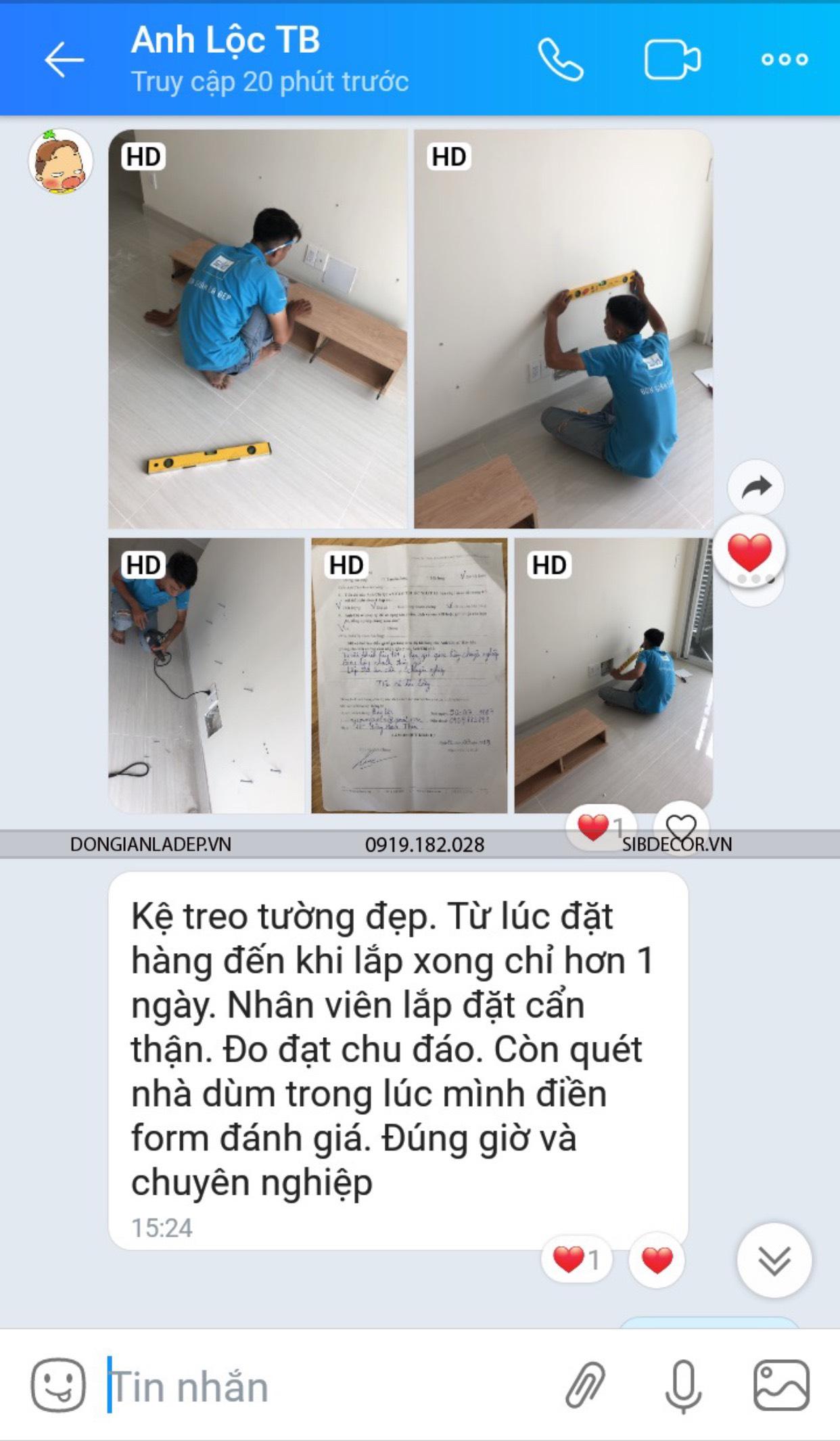 Lời khen cùng feedback khi kĩ thuật lắp đặt kệ tivi treo tường của anh Lộc