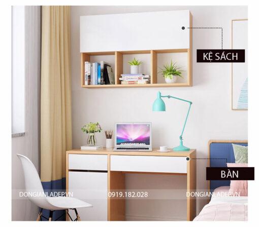 Bộ sản phẩm gồm bàn làm việc và kệ sách treo tường 3 ngăn màu trắng kết hợp vân gỗ sồi
