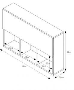 Kích thước tủ sách văn phòng treo tường 3 ngăn 2 tầng