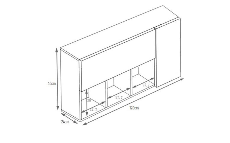 Kích thước tủ sách văn phòng treo tường KT707