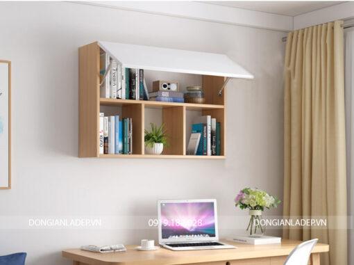 Kệ sách văn phòng 3 ngăn 2 tầng màu trắng kết hợp vân gỗ