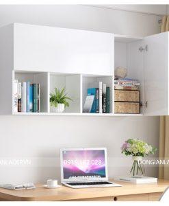 Tủ sách văn phòng treo tường màu trắng