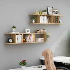 Combo 2 kệ gỗ trang trí treo tường màu vân gỗ sồi.