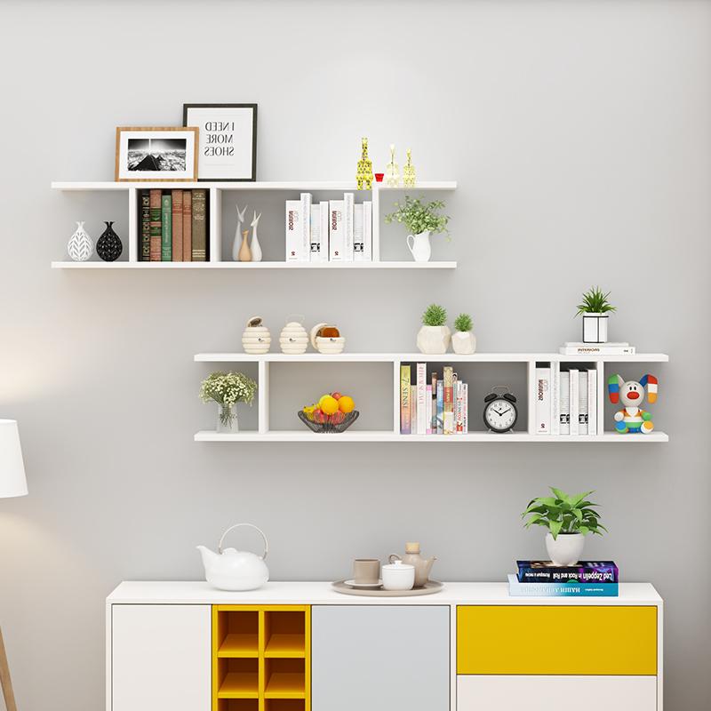 Combo 2 kệ gỗ trang trí treo tường màu trắng.