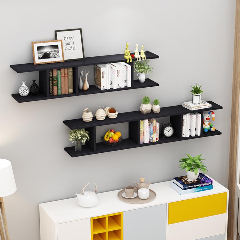 Combo 2 kệ gỗ trang trí treo tường màu đen.