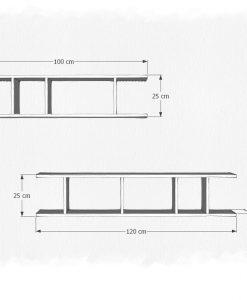 Kích thước chi tiết của bộ combo 2 kệ KT708